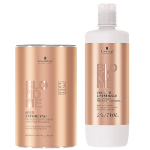 Blond Me Premium Combo Lift 9+ Pó Descolorante 450g + Loção 2% 7 Vol. 1.000ml